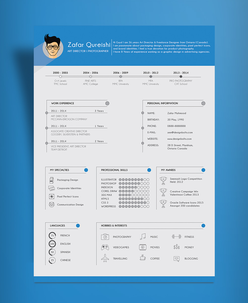 art director resume template cv