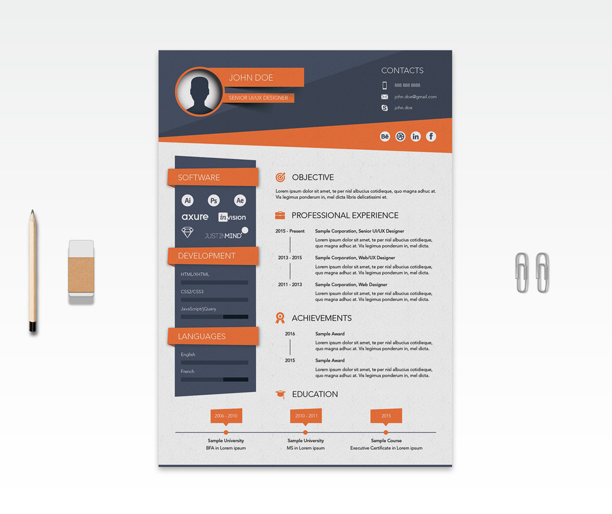 template psd cv creative