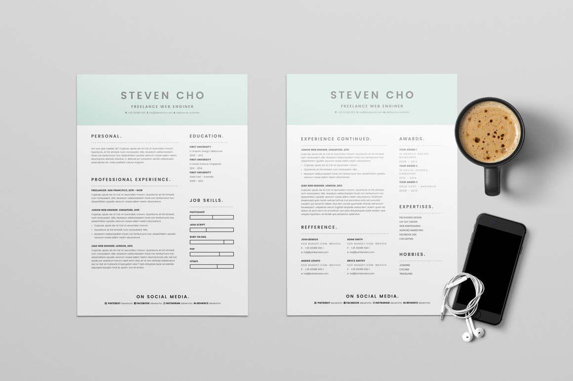 20 Beautiful Free Resume Templates For Designers Free Minimalist Resume Cv Design Template With Cover