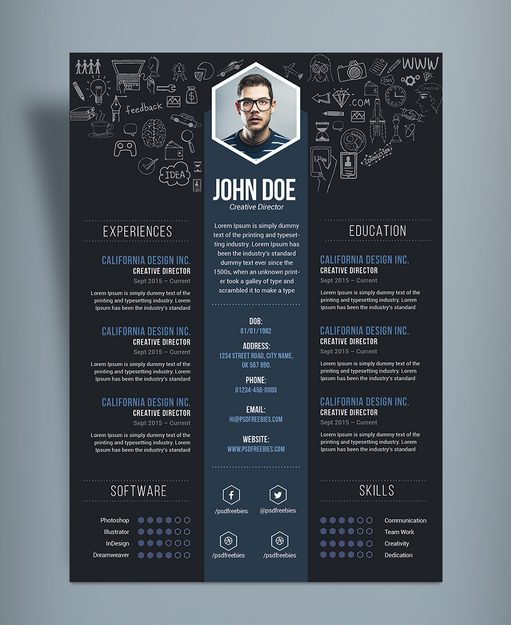 Resume Templates For Word Free Download And Software Free Creative Resume Cv Designtemplate Psd File Good