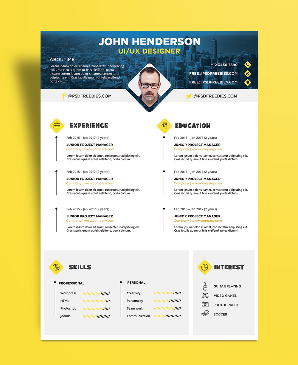 Free Professional Cvresume And Cover Letter Psd Templates Free Creative Resume Cv Design Template For Ui Ux