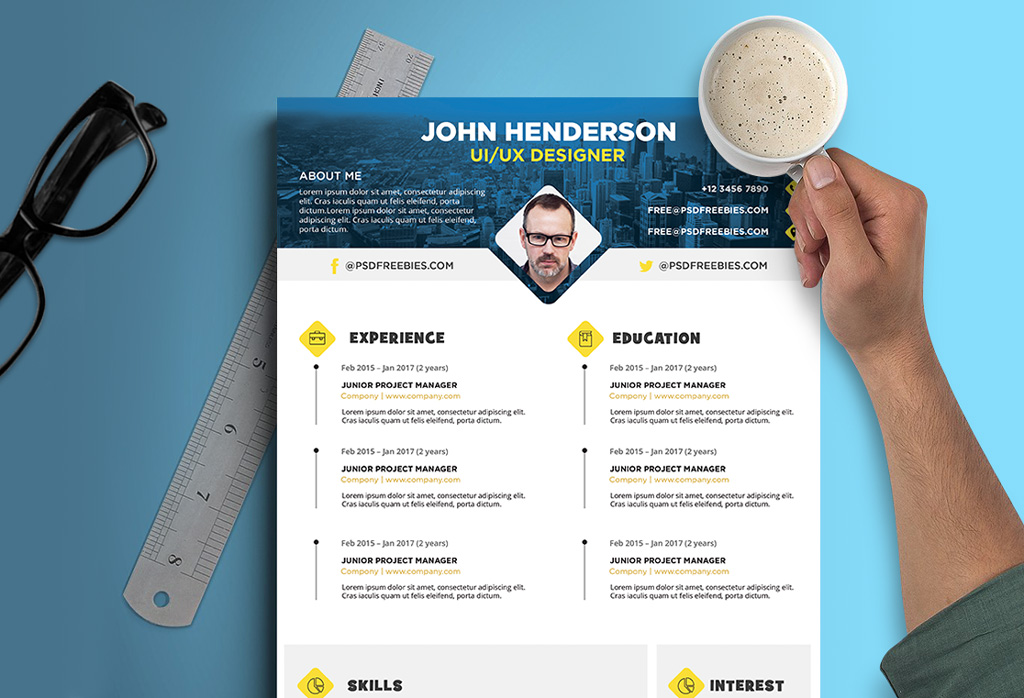 Free Creative Resume (CV) Design Template For UI / UX Designer PSD - ux design resume