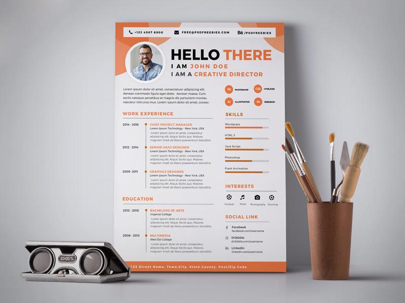 Free Professional Resume (CV) Design Template PSD - Good Resume