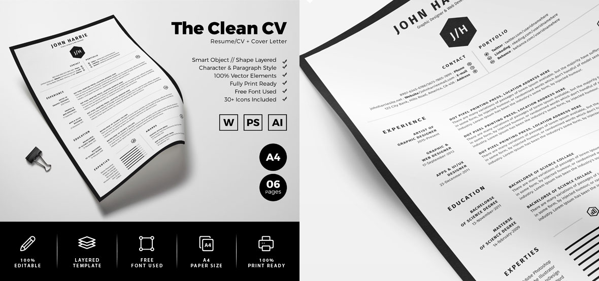 Free Clean Resume CV  Cover Letter Template in Word, PSD  Ai