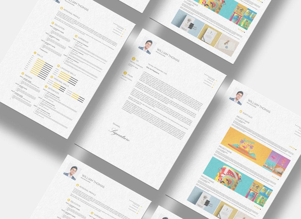 Free CV/ Resume, Cover Letter  Portfolio Design Template in PSD