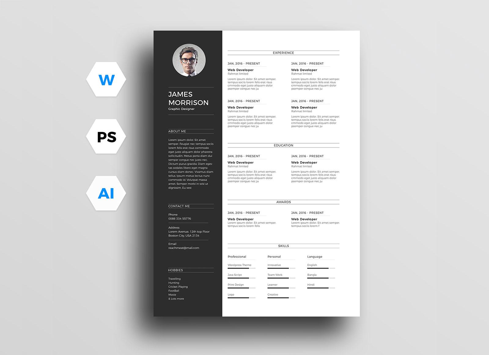 modern cv resume template for ai