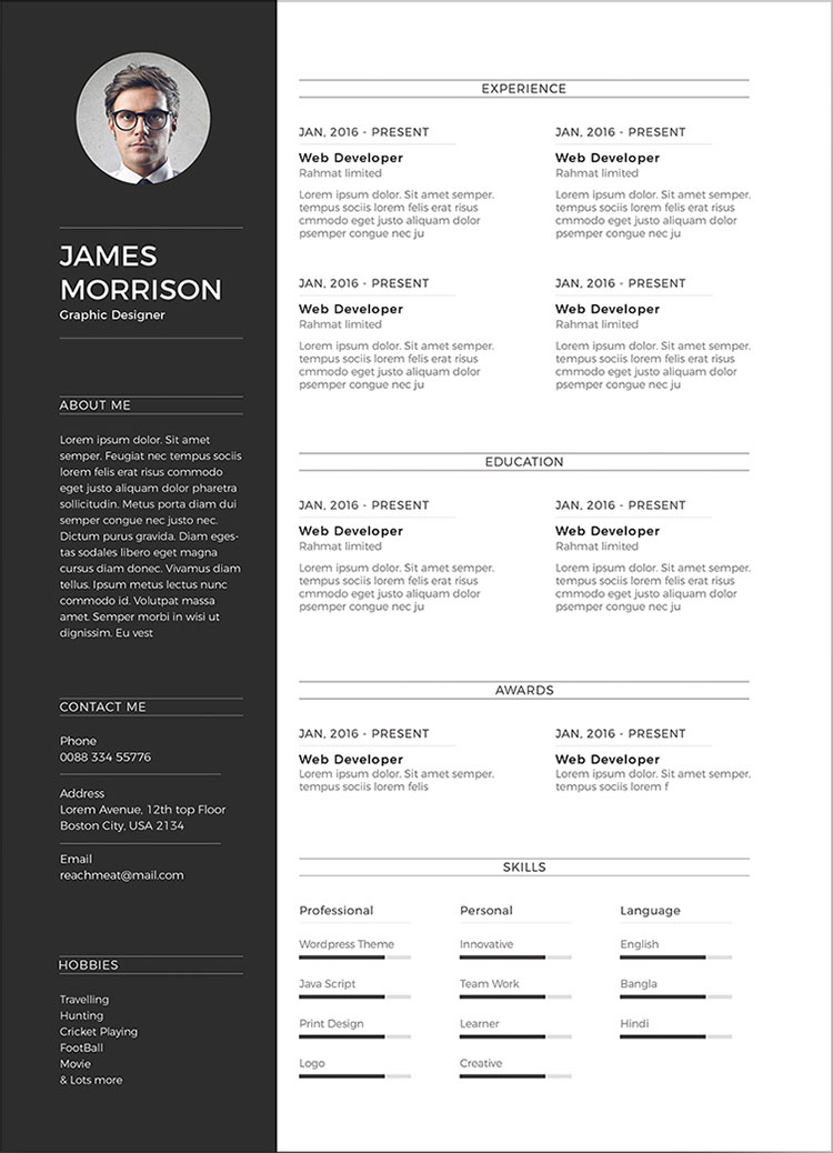 psd cv template simple