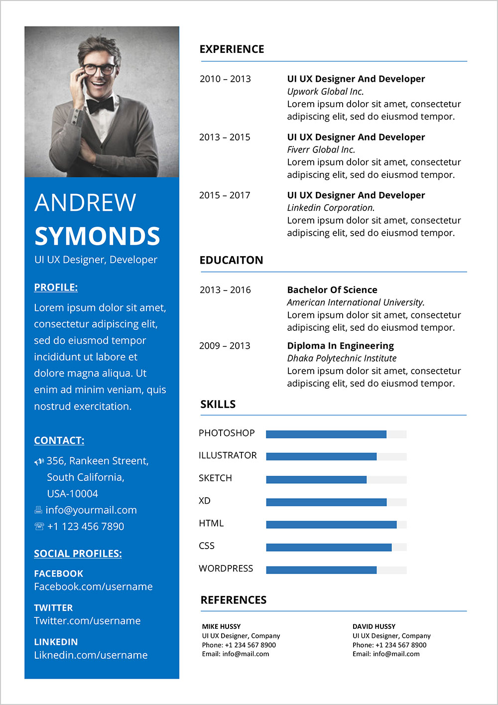 free resume word template cv