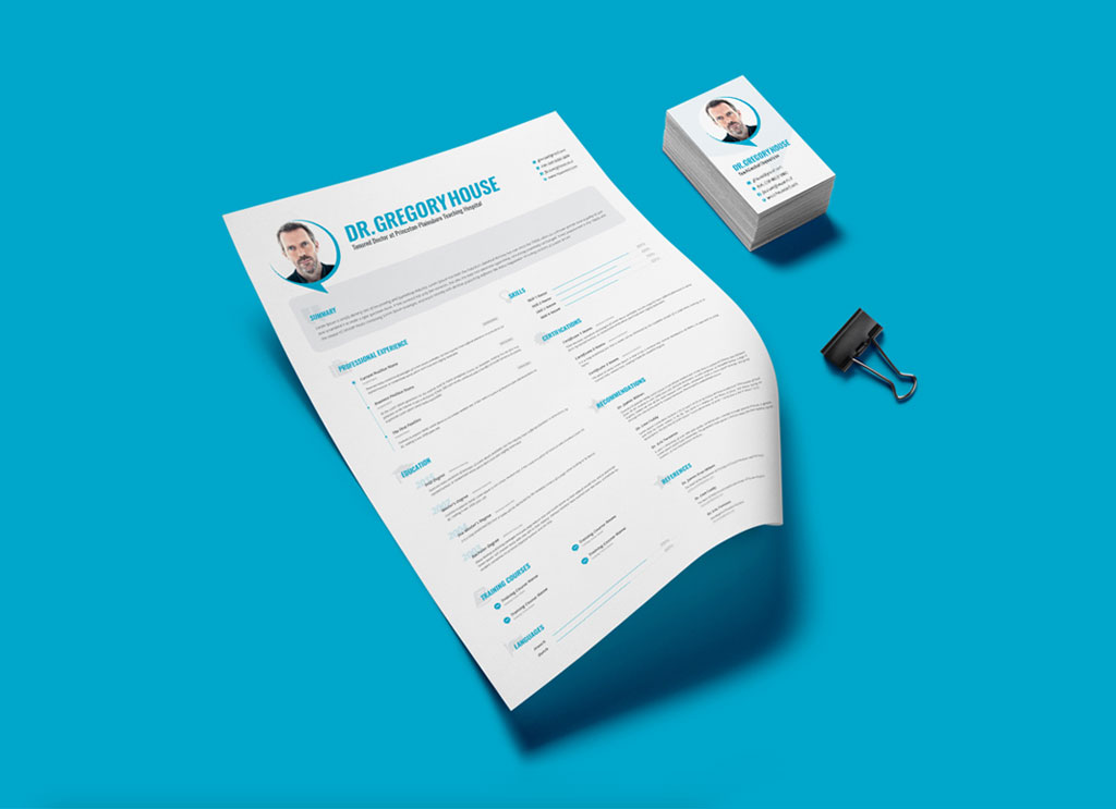 Free PSD Resume Template for Doctors and Surgeons - Good Resume