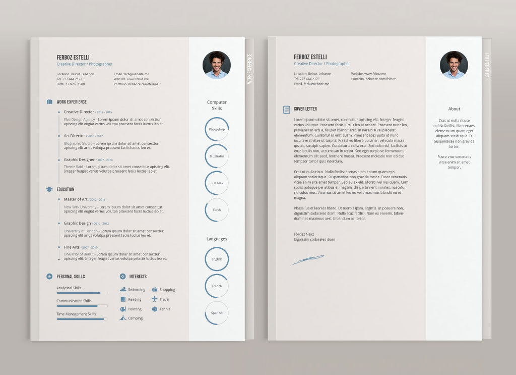 Free Professional Resume (CV) Template With Cover Letter  Portfolio
