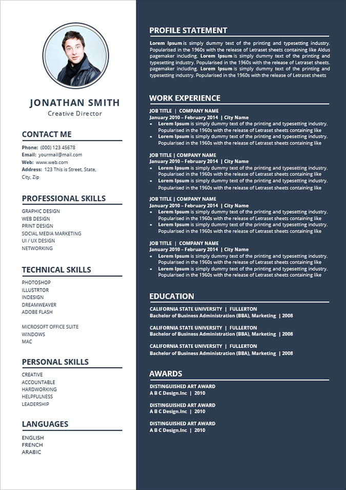 good cv format in word