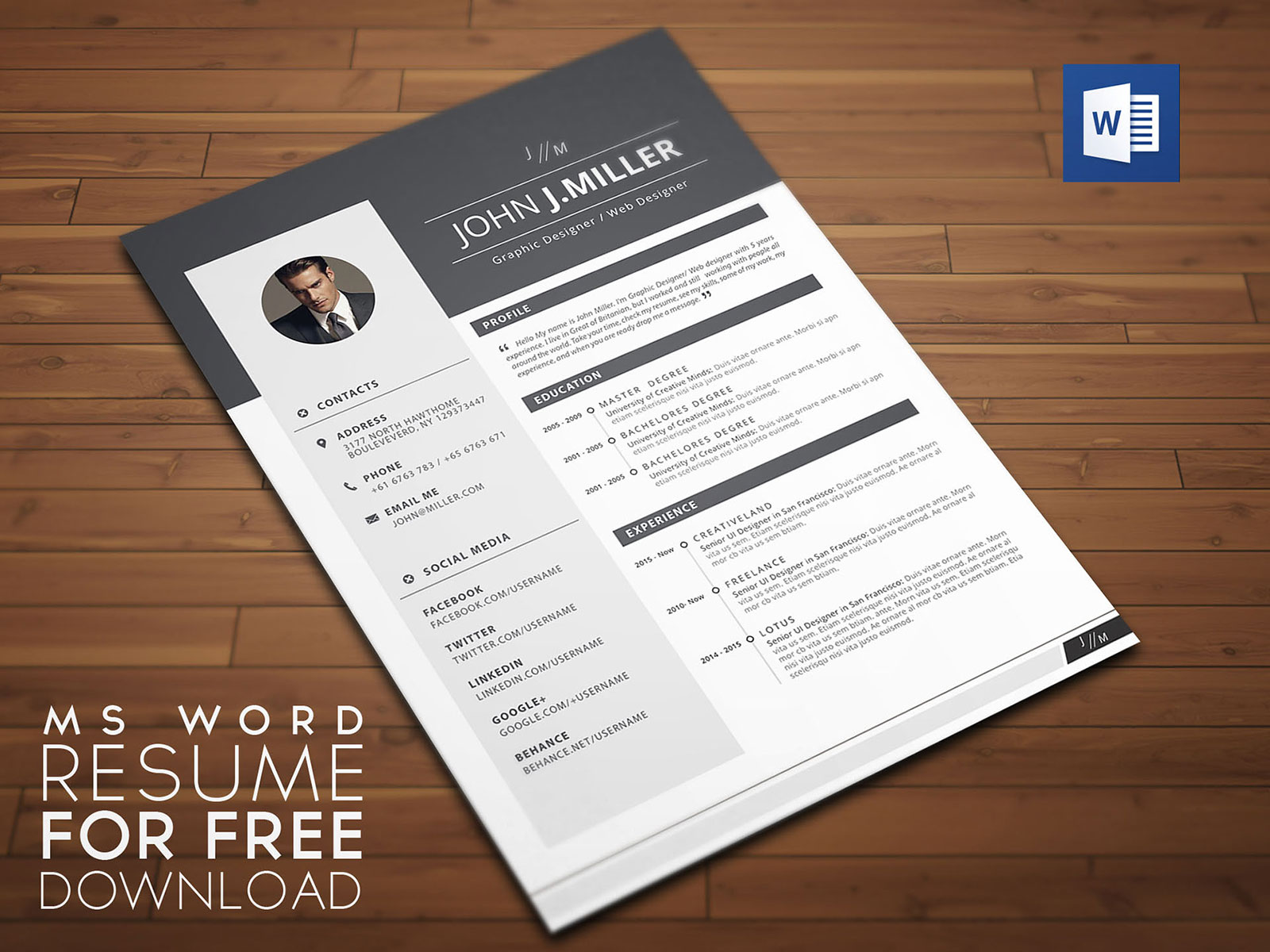 template designer cv word