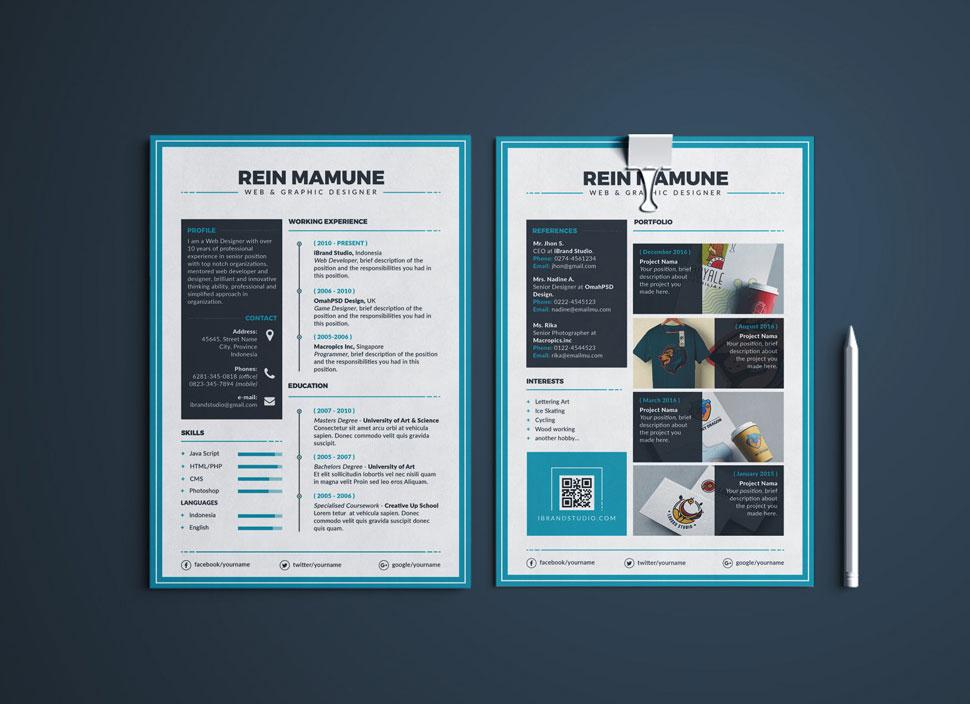Free Perfect Resume Template, Cover Letter  Portfolio Design For