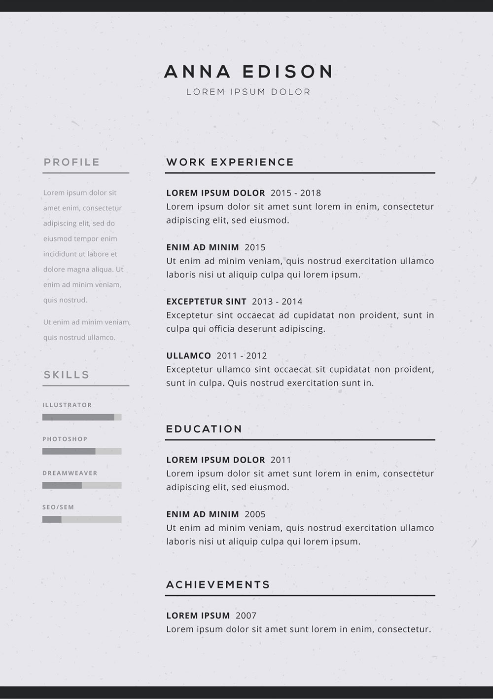 cv template black and white