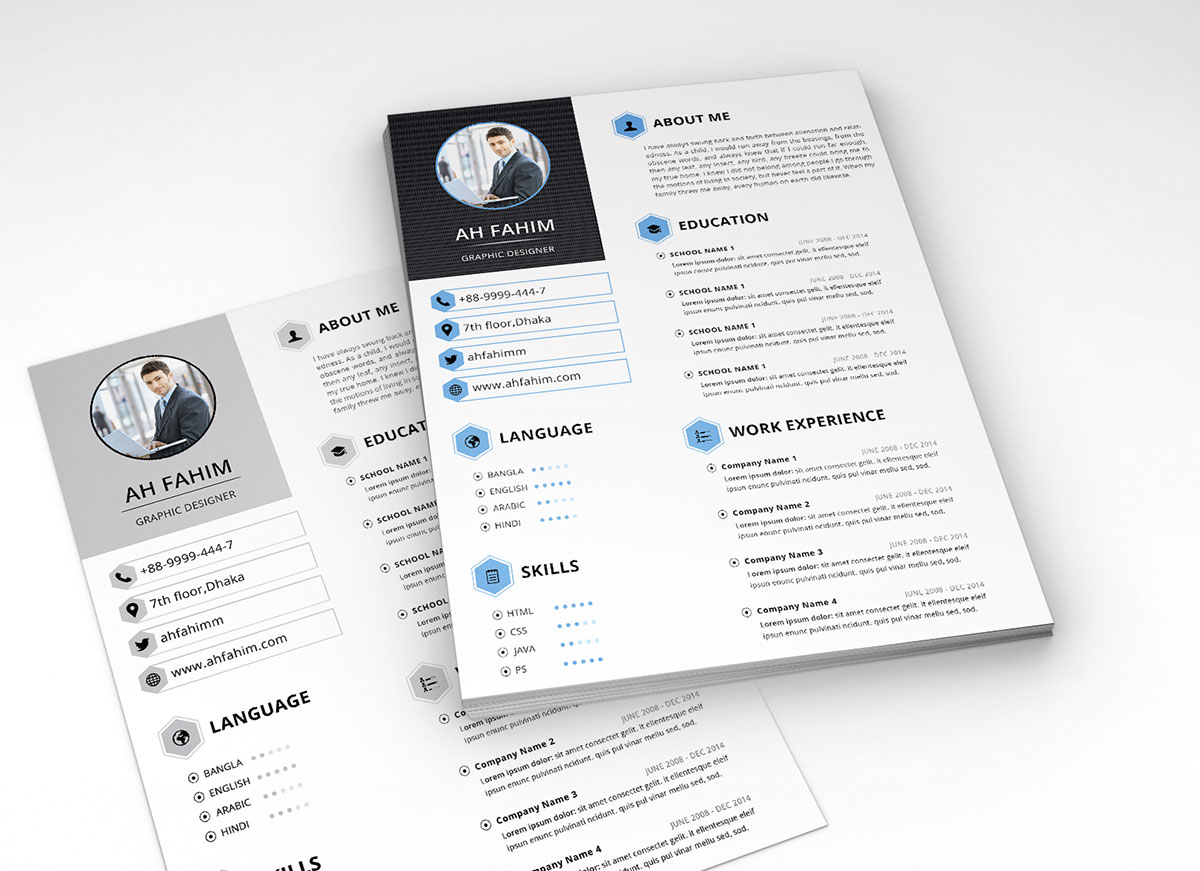 psd file template resume