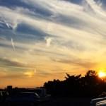 金環日食新月の彩雲と夕焼け