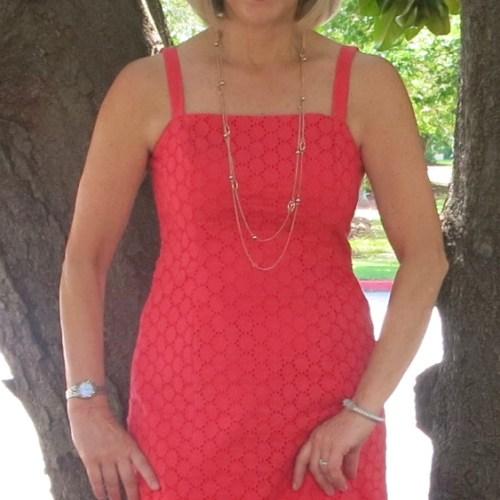 Goodbye Valentino Style Arc Teena Dress, Mood Fabrics Coral Eyelet