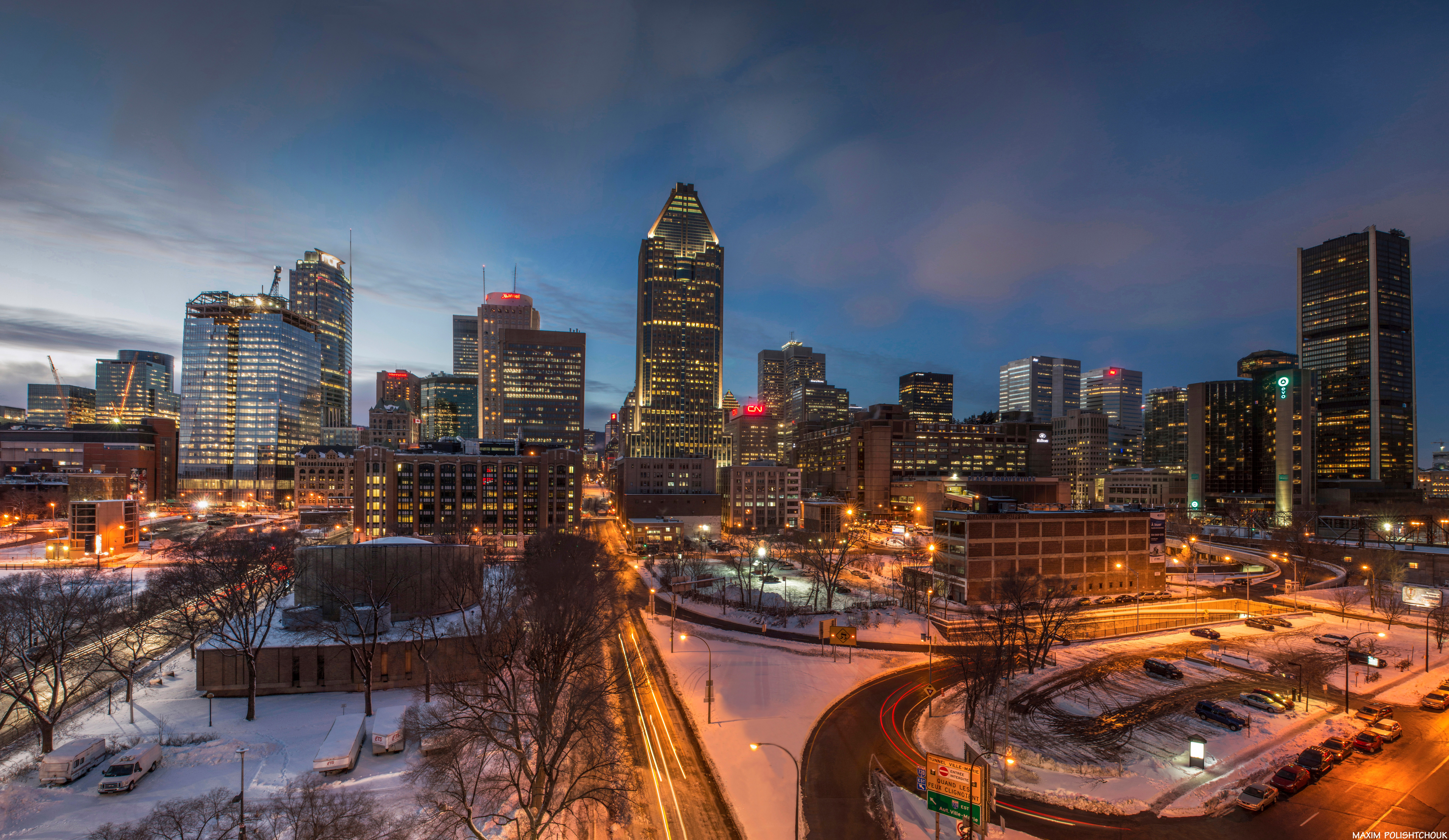 Quebec Montreal Night Time Cityscape With Lights In Montreal Quebec Canada Image