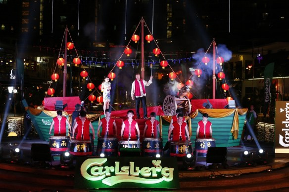 Henrik Juel Andersen, Managing Director of Carlsberg Malaysia, prepares to light the Dragon Cannon to trigger the launch of Carlsberg's 2015 Chinese New Year campaign.