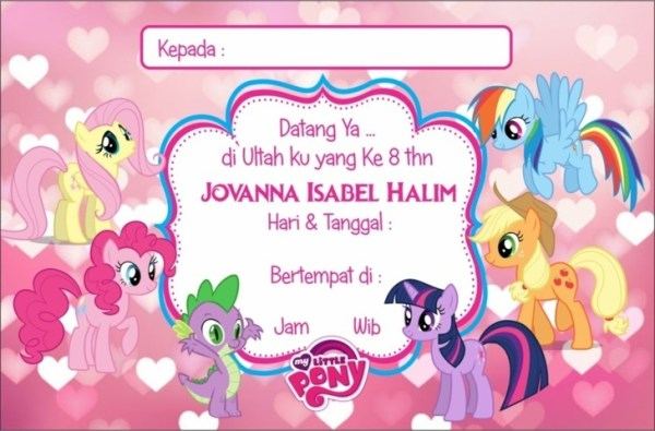 Undangan Ultah Anak my little Pony