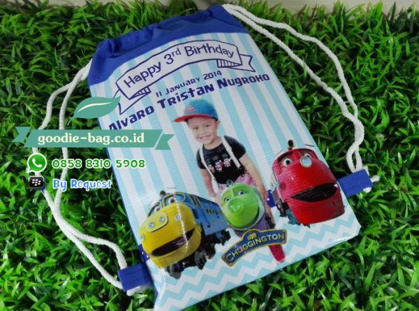tas ulang tahun Tas Serut Ransel Ultah Anak Chuggington