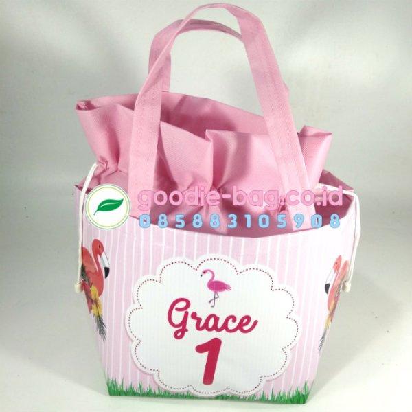 Tas Souvenir Ultah ulang tahun Flamingo Serut