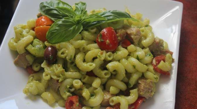 Avocado Pasta Sauce with Macaroni, Olives and Tomatoes