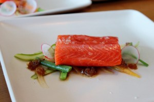 Olive Oil Poached Salmon with soy truffle vinaigrette