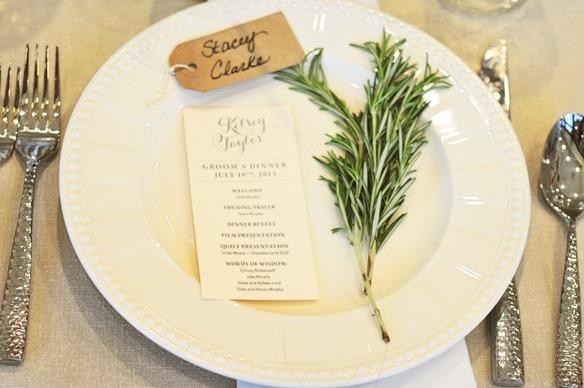 Simple elegant wedding place setting
