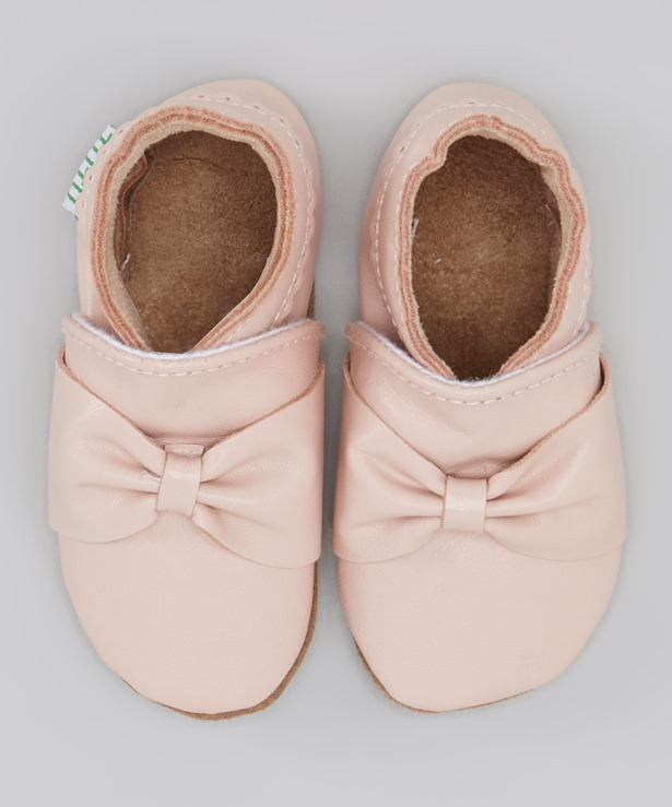 pink ballet moccasins bow