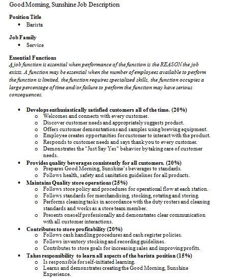 Barista Resume Tips Example Snagajob Job Descriptions Barista Good Morning Sunshine