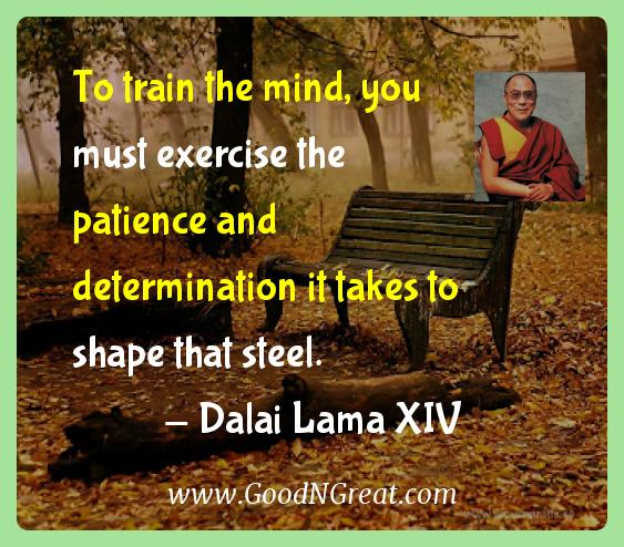 Dalai Lama Xiv Inspirational Quotes  - To train the mind, you must exercise the patience and