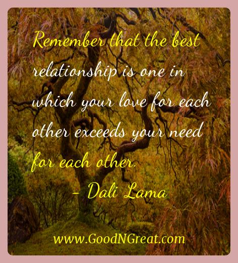 Dali Lama Inspirational Quotes  - Remember that the best relationship is one in which your
