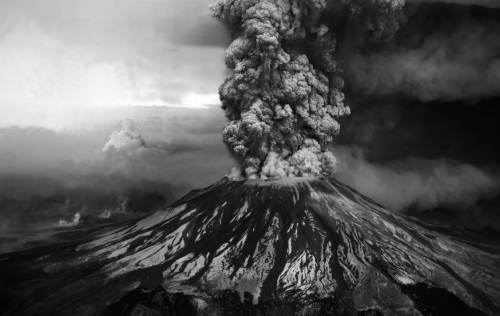 Erupting-Volcano-Black-and-White-Wallpaper