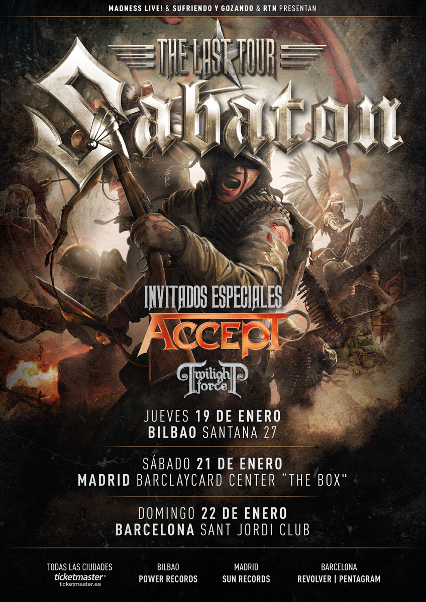 Concierto de Sábaton, Accept y Twilight Force en enero