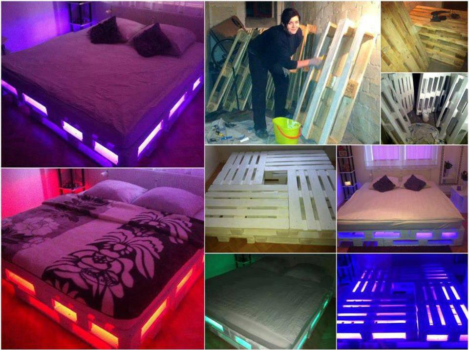 Pallet Bed Met Verlichting Recycled Wood Pallet: Decoration And Functionality | Home