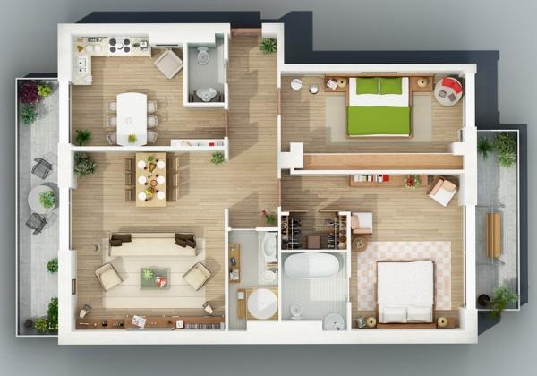 25 More 3 Bedroom 3D Floor Plans 3d, Bedrooms and House - maison en 3d gratuit