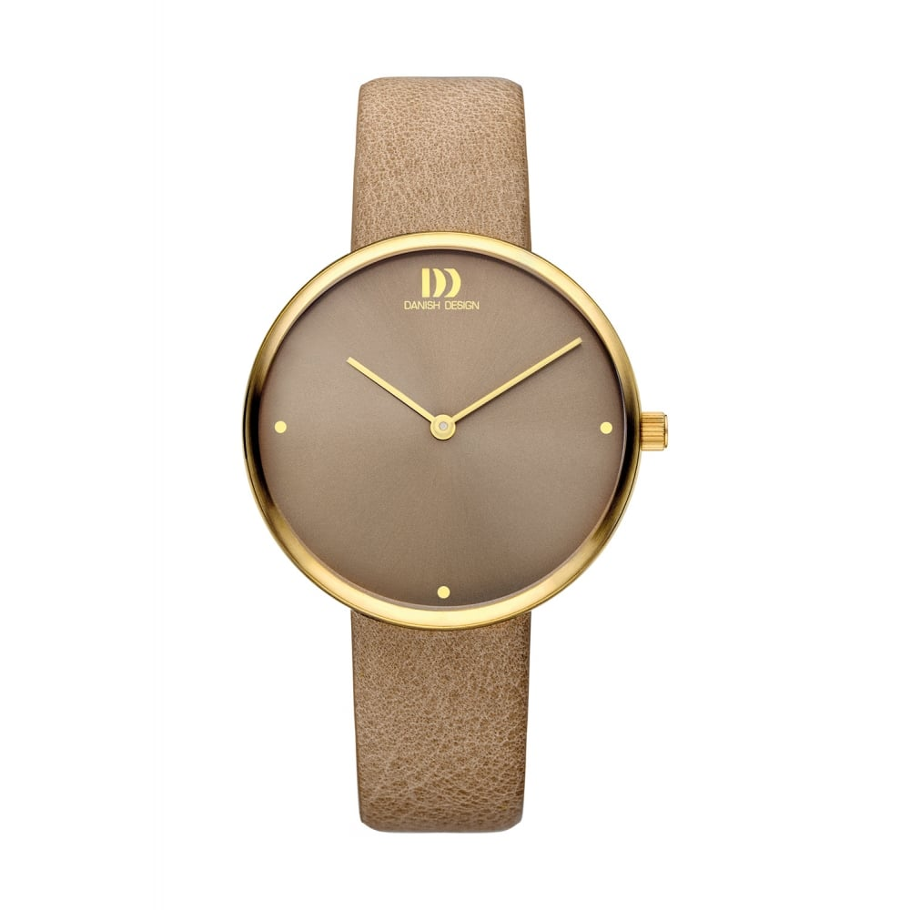 I Watch Ladies Danish Design Ladies Gold Pvd Stainless Steel Watch With Taupe Strap