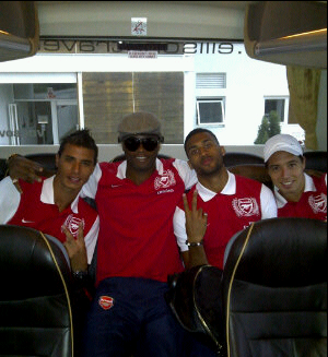 Nasri is pictured alongside team-mates and close friends Armand Traore, Alex Song and Marouane Chamakh.
