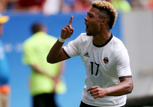 2016 Rio Olympics - Soccer - Quarterfinal - Men's Football Tournament Quarterfinal Portugal v Germany - Mane Garrincha Stadium - Brasilia, Brazil - 13/08/2016. Serge Gnabry (GER) of Germany celebrates after scoring. REUTERS/Ueslei Marcelino FOR EDITORIAL USE ONLY. NOT FOR SALE FOR MARKETING OR ADVERTISING CAMPAIGNS.    Picture Supplied by Action Images
