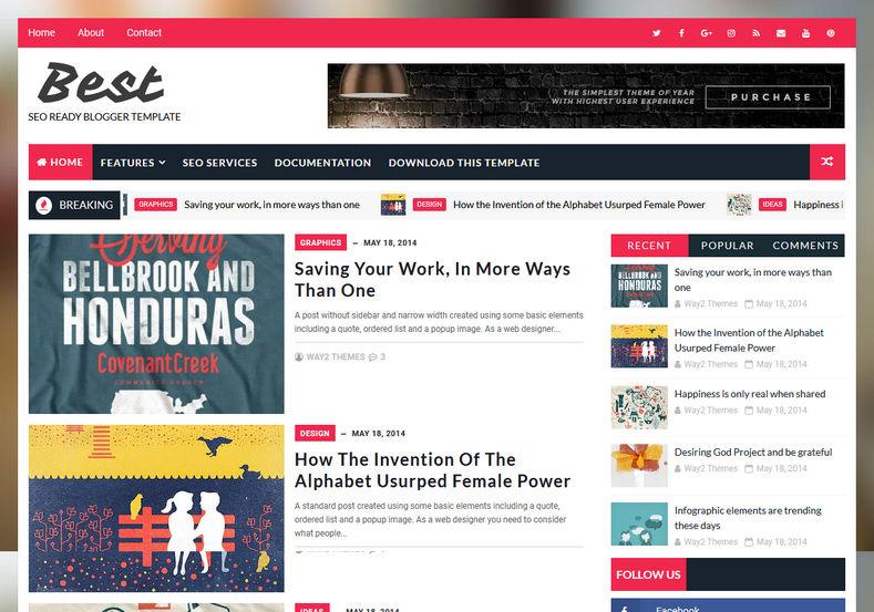 Best Seo Friendly Blogger Template \u2022 Blogspot Templates 2018