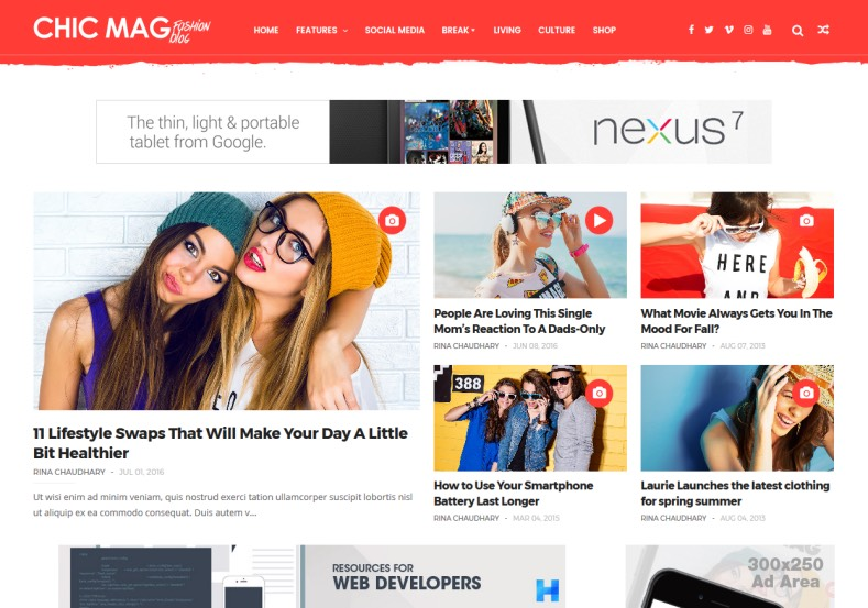 Chicmag Fashion Blogger Template \u2022 Blogspot Templates 2019