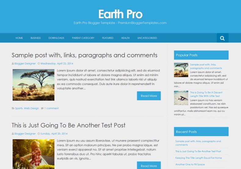 Earth Pro Simple Blogger Template \u2022 Blogspot Templates 2019