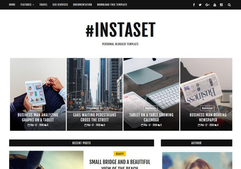 Instaset Fashion Blogger Template \u2022 Blogspot Templates 2019