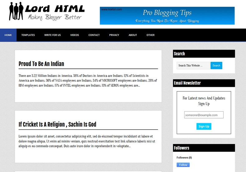 Lord HTML Blogger Template 2014 Free Download