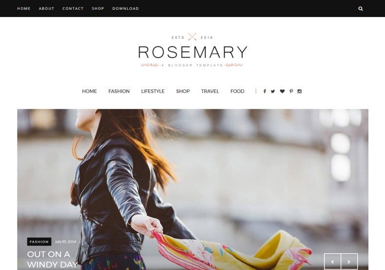Rosemary Fashion Blogger Template \u2022 Blogspot Templates 2018 - fashion blogger templates