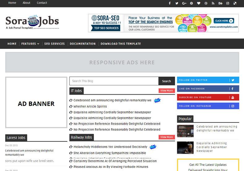 Sora Jobs Blogger Template \u2022 Blogspot Templates 2019