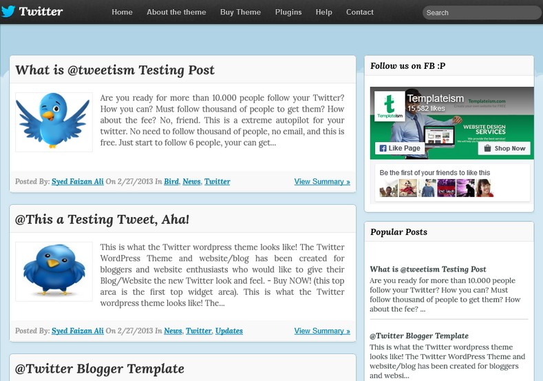 Twitter Blogger Template 2014 Free Download - twitter template