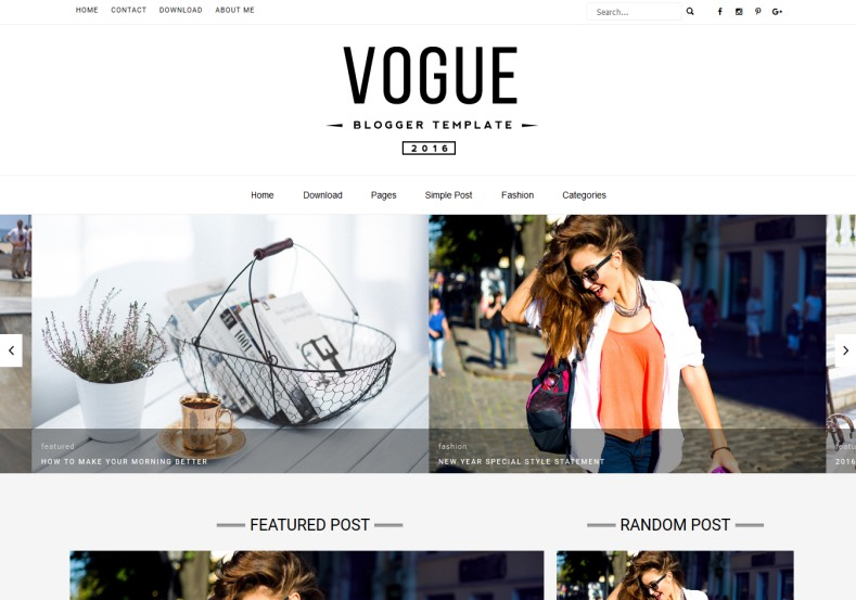 Vogue Blogger Template \u2022 Blogspot Templates 2018 - fashion blogger templates