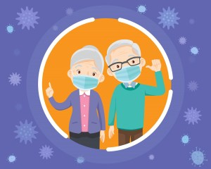 elderly wearing protective Medical mask for prevent virus.grandparents wearing a surgical mask.